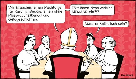 Cartoon | Prozess Vatikan | © Katharina Greve