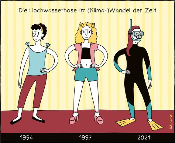 Cartoon | Hochwasserhose | © Katharina Greve