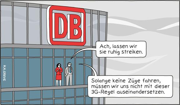 Cartoon | Bahnstreik | © Katharina Greve