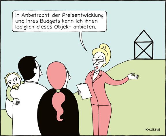 Cartoon | Immobilienpreise | © Katharina Greve