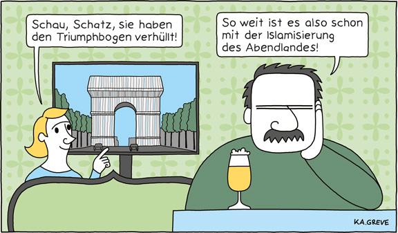 Cartoon | Triumphbogen | © Katharina Greve